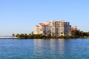 Color DSLR image of condominium complex under construction on the water; South Beach, Miami, Florida